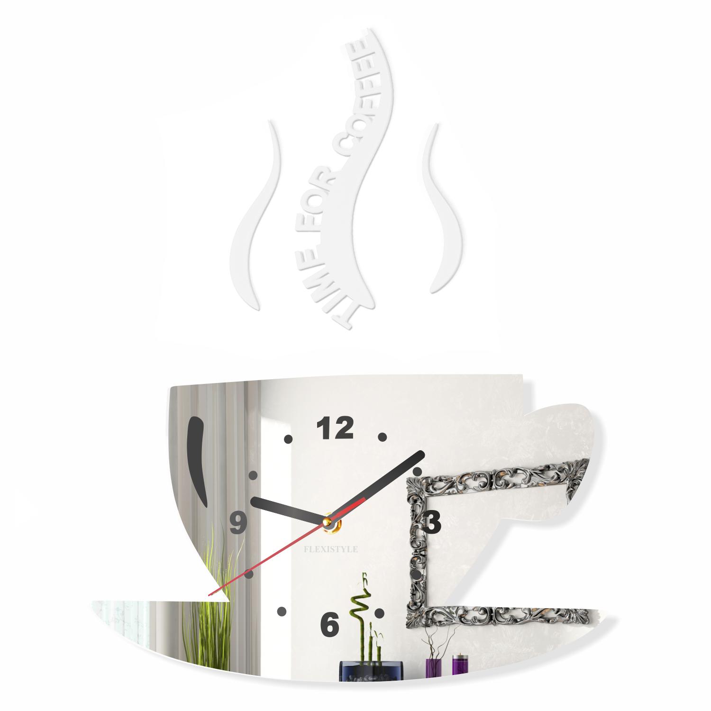 Orologio da parete moderno per cucina la tazzina design 16 colori 3d silenzio ebay - Orologio parete cucina design ...